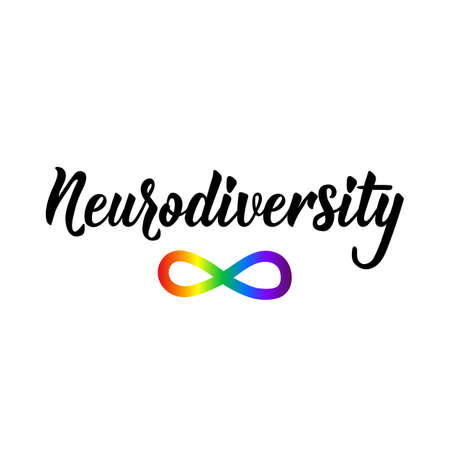 Neurodiversity. Lettering. Vector hand drawn motivational and inspirational quote. Calligraphic poster. World Autism awareness day.