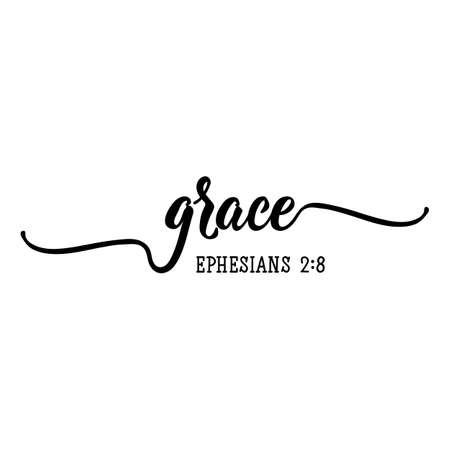 Grace. Lettering. Inspirational and bible quote. Can be used for prints bags, t-shirts, posters, cards. Ink illustration Ilustración de vector