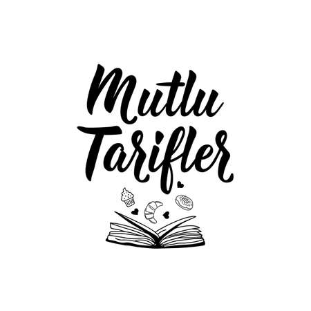 Mutlu tarifler. Lettering. Translation from Turkish - Happy recipes. Modern vector brush calligraphy. Ink illustration 일러스트