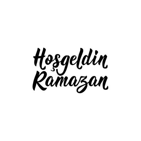 Lettering. Translation from Turkish - Welcome Ramadan. Modern vector brush calligraphy. Ink illustration. Religion Islamic quote