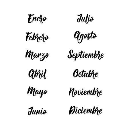 Lettering. Translation from Spanish - January, February, March, April, May, June, July, August, September October November December Names of months. Calligraphy words for calendars and organizers