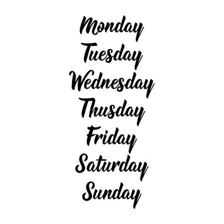 Days of the week - Sunday, Monday, Tuesday, Wednesday, Thursday, Friday, Saturday. Days of the week. Calligraphy words for calendars and organizers