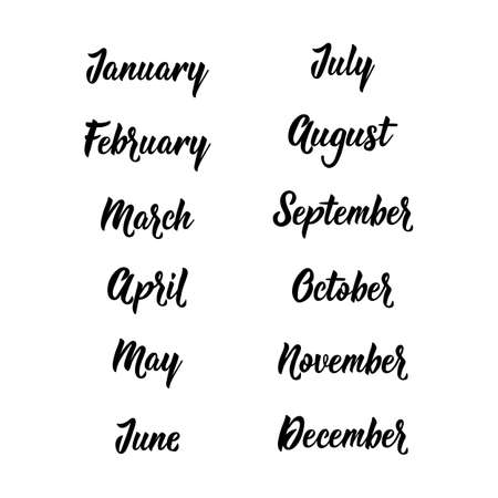 Handwritten months of the year - January, February, March, April, May, June, July, August, September, October November December Calligraphy words for calendars and organizers 일러스트