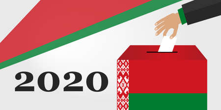 Concept of Belarus Election 2020. Hand Putting Voting Paper in the Ballot Box. Vector Illustration Flat Style