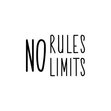 No rules no limits. Lettering. Can be used for prints bags, t-shirts, posters, cards. Calligraphy vector. Ink illustration