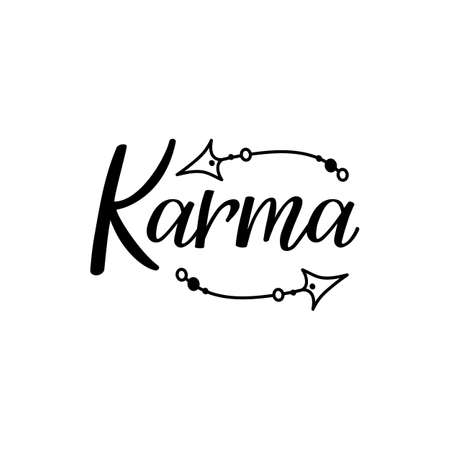 Karma. Lettering. Can be used for prints bags, t-shirts, posters, cards. Calligraphy vector Ink illustration