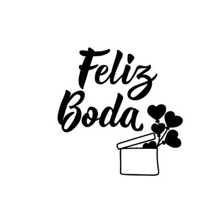Feliz Boda. Lettering. Translation from Spanish - Happy wedding. Element for flyers, banner and posters. Modern calligraphy Ilustracja
