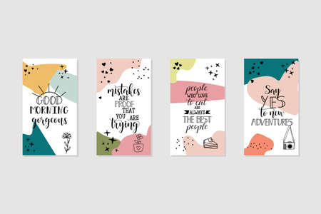 Vector set design templates with motivational phrases. Lettering. Trendy template for social networks stories, vector illustration.