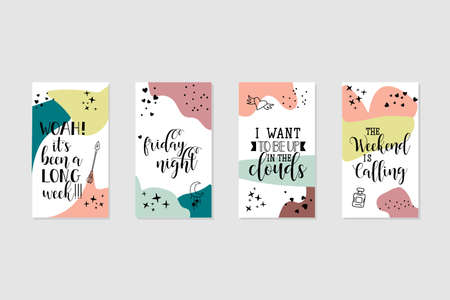 Vector set design templates with motivational phrases. Lettering. Trendy template for social networks stories, vector illustration. Banque d'images - 151754342