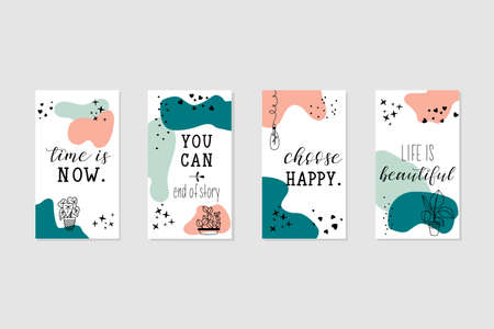 Vector set design templates with motivational phrases. Lettering. Trendy template for social networks stories, vector illustration. Banque d'images - 151754343