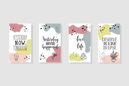 Vector set design templates with motivational phrases. Lettering. Trendy template for social networks stories, vector illustration. Banque d'images - 151754345