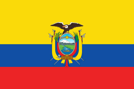 Flag of Ecuador with coat of arms. Vector. Accurate dimensions, element proportions and colors.