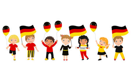 Children holding German flags and balloons with symbols of Germany. Modern design template for greeting card, ad, promotion, poster, flyer, blog, article, social media Vector illustration