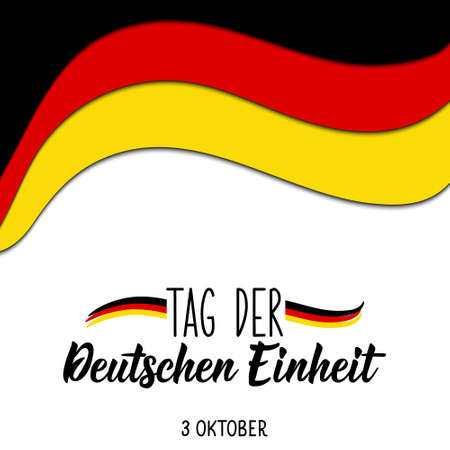 Germany Unity Day greeting card. Text in German: Day of German unity. October 3. Lettering. Vector illustration. Design concept independence day celebration, card Illustration