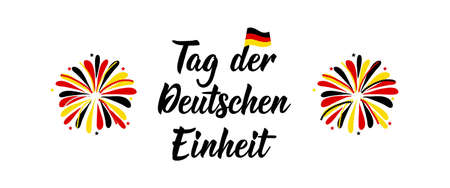 Germany Unity Day greeting card. Text in German: Day of German unity. Lettering. Vector illustration. Design concept independence day celebration, card, banner