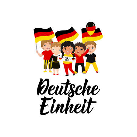 Germany Unity Day greeting card. Text in German: 30 years. German unity. Lettering. Vector illustration. Design concept independence day celebration, card, banner Illustration