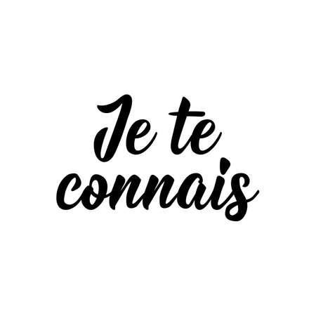 Je te connais. French lettering. Translation from French - I know you. Element for flyers, banner and posters. Modern calligraphy. Ink illustration