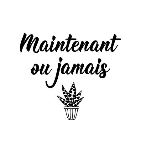 Maintenant ou jamais. French lettering. Translation from French - Now or never. Element for flyers, banner and posters. Modern calligraphy. Ink illustration