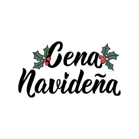 Spanish lettering. Translation from Spanish - Christmas dinner. Element for flyers, banner, t-shirt and posters. Modern calligraphy