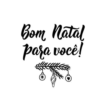 Brazilian christmas lettering. Translation from Portuguese - Merry Christmas to you. Modern brush calligraphy. Ink illustration. Perfect design for greeting cards, posters, t-shirts 向量圖像