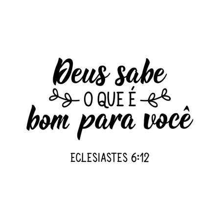 Brazilian Lettering. Translation from Portuguese - God knows what is good for you. Modern vector brush calligraphy. Ink illustration. Perfect design for greeting cards, posters, t-shirts, banners 向量圖像