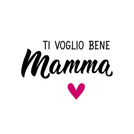 Translation from Italian: I love you mom. Lettering. Ink illustration. Modern brush calligraphy Isolated on white background. Ti voglio bene Mamma