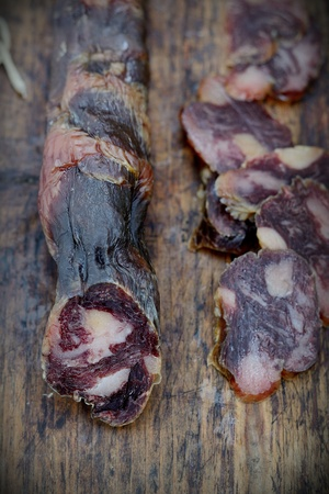 veal sausage: Homemade natural veal dried meat Stock Photo