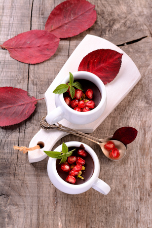 chocolate mousse in a white ceramic cup with pomegranate and mint on a wooden table with bright autumn fallen leaves photo