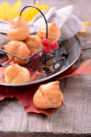 profiterole: Homemade profiteroles with chocolate cream and powdered sugar autumn still life Stock Photo