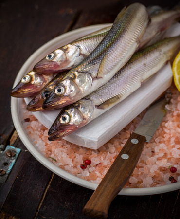 fresh water smelt: Famous fresh Baltic fish smelt or korjushka over striped seaman fabric Stock Photo