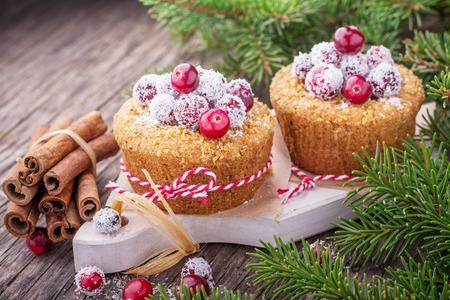 Frische hausgemachte Cranberry Muffins Urlaub in Kokosflocken auf einem hölzernen Hintergrund mit Tanne Zweige. Tiefenschärfe Standard-Bild - 46183020