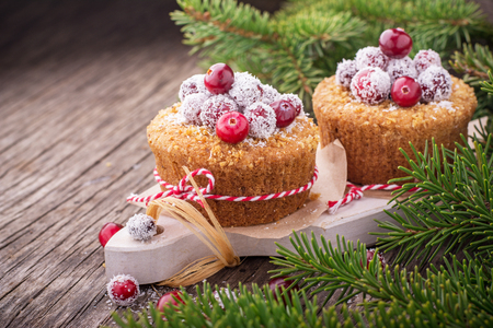 shop sign: Homemade muffins with golden ripe cranberries and coconut on a simple wooden background with fir branches as decoration. selective Focus