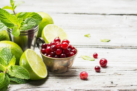 Ingredients for cranberry mojito with fresh cranberries, mint flavored, juicy lime and ice cubes for seasonal Family beverage on a light wooden background. selective focus 版權商用圖片 - 68803205