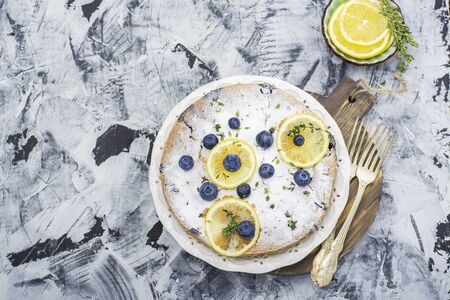 home baked: Home baked lemon cake with blueberries
