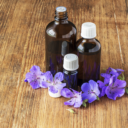 Essential oil of geranium meadow in dark glass containers on wooden background with flowers and leaves. Selective focus. Stock Photo