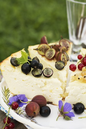 Comfortable summer home baking. Seasonal berry cheesecake with assorted organic garden berries: currants, gooseberries, edible flowers. Photo on the street on a summer day. Selective focus. 写真素材