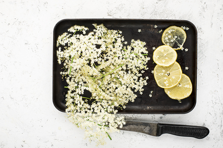 Ingredients for a healthy homemade drink: elderberry flowers, lemon slices on a vintage black tray for making a recipe. Top view Standard-Bild - 109064706