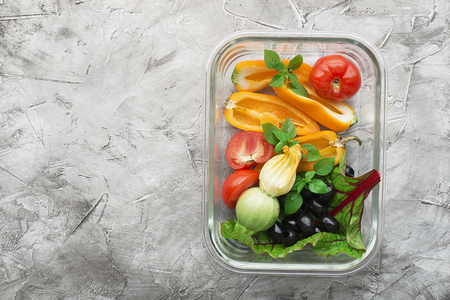 Vegetarian food container to go with you. Dietary fitness nutrition. Farm organic snack. Top view Standard-Bild - 109064705