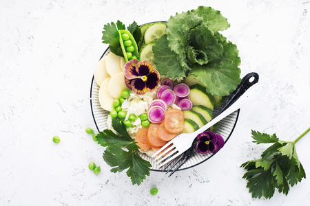 Beautiful vitamin healthy vegetable salad. Cucumbers, cabbage, daikon, lettuce, young peas in the same bowl. Top view. 写真素材