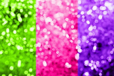 2019 color trend. A trio of bright neon-colored pink plastic Stock Photo