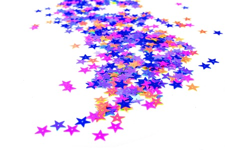 Star confetti isolate on white scattering