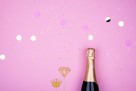 Champagne candles confetti celebration pastel