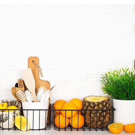 Kitchen shelf storage organization fruit cutlery.