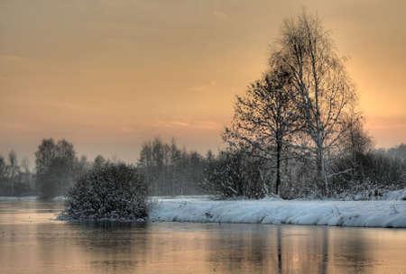 Winter sunset landscape photo