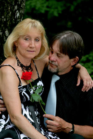 Beautiful adult couple portrait in woods Stock Photo - 13271396