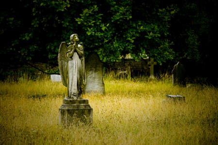 cementerios: Antiguo cementerio escultura del �ngel de piedra