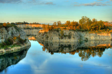 Beautiful HDR landscape photography taken in woods, by a lake Stock Photo - 13357237