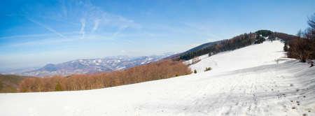 Beautiful winter sunny photo taken in Beskidy mountains - Czantoria or at Czech side - Czantoryja.  photo