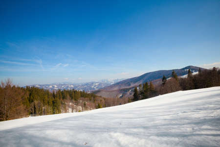 Beautiful winter sunny photo taken in Beskidy mountains - Czantoria or at Czech side - Czantoryja.  photo