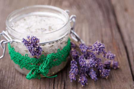 Handmade DIY natural sugar body scrub with lavender and coconut oil